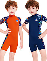 cheap -Boys' Rash Guard Dive Skin Suit Diving Suit Breathable Quick Dry Short Sleeve Back Zip - Swimming Surfing Water Sports Patchwork Summer / Stretchy / Kid's