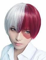 cheap -halloweencostumes MHA Cosplay My Hero Academia Cosplay Tsnomore Short Straight Anime Cosplay Costume Halloween Unisex Wig Short Wigs for Women (Sliver White &Amp;Red)
