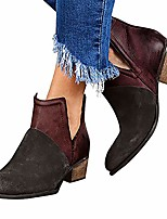 cheap -ankle boots for women,wedges ankle booties retro v cut comfy short boots flock leather zip closure stacked chunky block heels shoes
