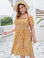 cheap -Women's A-Line Dress Knee Length Dress - Short Sleeve Print Patchwork Print Summer Off Shoulder Plus Size Casual Sexy Holiday Loose 2020 Yellow XL XXL 3XL 4XL
