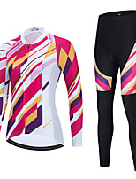 cheap -Women's Long Sleeve Cycling Jersey with Bib Tights Cycling Jersey with Tights Cycling Jersey Winter Black Red Black / White Bike Breathable Quick Dry Sports Graphic Mountain Bike MTB Road Bike Cycling