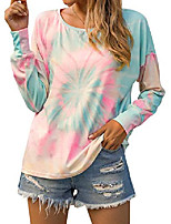 cheap -women's tie dye shirts long sleeve off the shoulder tops graphic tees plus size blouses(xl,tie dye)