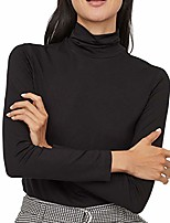 cheap -turtleneck long sleeve t shirts women cotton soft white black pink aesthetic cute pullover tops plus size (black, x-large)