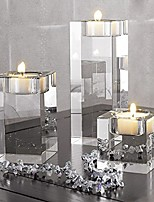 cheap -heavy clear crystal tea light holder cuboid candle holder for party ceremony wedding centerpiece home decoration (2.4'')