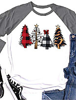 cheap -womens merry christmas plaid leopard printed tree baseball t-shirt funny 3/4 sleeve letter print graphic tees tops (grey, xxl)