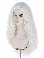 cheap -27.5inch long white wavy hair wigs woman side part halloween cosplay wig (white)