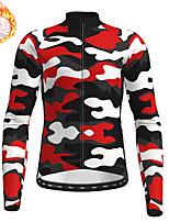 cheap -21Grams Men's Long Sleeve Cycling Jersey Winter Fleece Red Camo / Camouflage Bike Top Mountain Bike MTB Road Bike Cycling Fleece Lining Warm Sports Clothing Apparel / Stretchy / Athleisure
