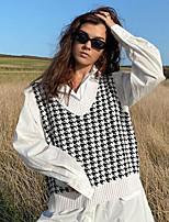 cheap -Women's Houndstooth Pullover Sleeveless Sweater Cardigans V Neck Fall Winter White Black Blue
