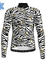cheap -21Grams Men's Long Sleeve Cycling Jersey Winter Fleece Polyester Black Skull Zebra Bike Jersey Top Mountain Bike MTB Road Bike Cycling Fleece Lining Warm Quick Dry Sports Clothing Apparel / Stretchy