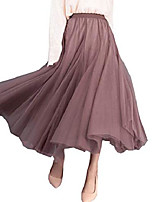 cheap -women's elegant pleated maxi tulle skirt ankle length high elastic waist a line flowing big hem skirt
