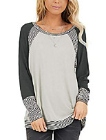 cheap -women's color block tunic round neck long sleeve shirts striped causal blouses tops black