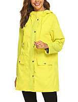 cheap -rain jacket women waterproof with stripe liner hood lightweight raincoat outdoor windbreaker trench coat s-xxl yellow