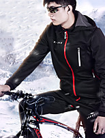 cheap -Men's Long Sleeve Cycling Jacket with Pants Winter Fleece Black Solid Color Bike Fleece Lining Breathable Warm Sports Solid Color Mountain Bike MTB Road Bike Cycling Clothing Apparel / Stretchy