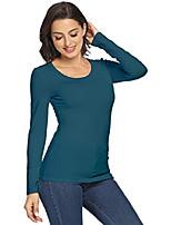cheap -women's plain long sleeve scoop neck t-shirt basic casual slim cotton tops (peacock blue/o-neck,xl)