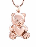 cheap -stainless steel teddy bear pet urn ashes pendant memorial ash keepsake cremation jewelry necklace (rose gold)