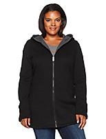 cheap -women's plus size zip front hooded jacket with two tone fleece, black, 3x