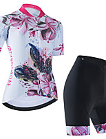 cheap -Women's Short Sleeve Cycling Jersey Cycling Jersey with Bib Shorts Cycling Jersey with Shorts White Black Black / White Floral Botanical Bike Breathable Quick Dry Sports Graphic Mountain Bike MTB