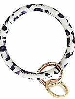 cheap -bangle key ring car keychain - silicone round key ring bracelet,wristlet keychains for women (white print)