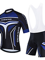 cheap -Men's Short Sleeve Cycling Jersey Cycling Jersey with Bib Shorts Cycling Jersey with Shorts Black Black / White Dark Blue Bike Breathable Quick Dry Sports Graphic Mountain Bike MTB Road Bike Cycling