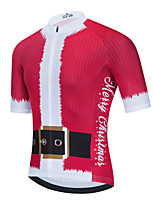 cheap -Men's Short Sleeve Cycling Jersey Red 3D Santa Claus Bike Top Mountain Bike MTB Road Bike Cycling Breathable Quick Dry Sports Clothing Apparel / Stretchy / Athletic