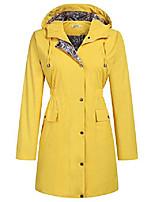 cheap -womens lightweight rain coat hooded raincoat active outdoor rain jacket long windbreaker(yellow, l)