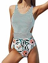 cheap -swimsuits for women high waisted women one piece swimsuit tummy control swimwear v neck bathing suit green