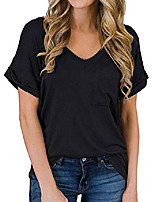 cheap -women's summer casual loose short sleeve shirts tops tee blouses t shirts(black-s)