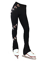 cheap -polartec fleece figure skating pants with spiral skates design (ab crystals, child medium)
