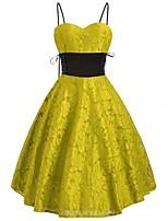 cheap -Women's A-Line Dress Short Mini Dress - Sleeveless Print Lace Lace up Patchwork Winter Vintage Chinoiserie 2020 Yellow S M L XL XXL