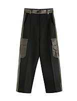 cheap -Women's Basic Streetwear Comfort Daily Going out Wide Leg Pants Pants Multi Color Ankle-Length Pocket Black Gray