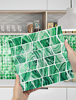 cheap -Imitation Epoxy Tile Sticker Green Mosaic Water Corrugated Wall Sticker House Renovation DIY Self-adhesive PVC Wallpaper Painting Kitchen Waterproof and Oilproof Wall Sticker