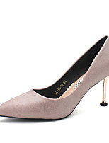 cheap -Women's Heels Stiletto Heel Pointed Toe Casual Wedding Daily Walking Shoes PU Solid Colored Pink Silver