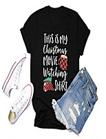 cheap -merry christmas tshirt womens xmas vacation gift tee causal plaid short sleeve tops (black, m)