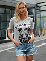 cheap -Women's T-shirt Graphic Prints Letter Bear Print Round Neck Tops 100% Cotton Basic Basic Top White Black Purple