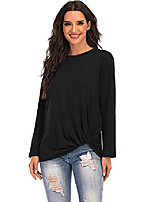 cheap -women's long sleeve casual tops round neck cotton blouses t-shirts black