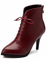 cheap -women's retro pointed toe dressy ankle boots lace up zipper stiletto kitten high heel short booties red