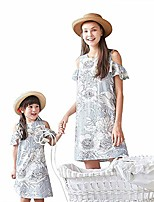 cheap -family matching outfits summer dresses mother daughter cold shoulder floral striped dress (white, girl/6t-7t)
