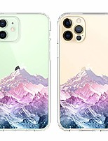 "cheap -case compatible with iphone 12 pro/iphone 12 (6.1"") pastel snow mountain thin slim hybrid clear case anti-scratch protective crystal protective cover for iphone 12/12 pro 6.1"" 2020"