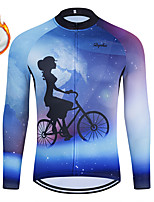 cheap -WECYCLE Men's Women's Long Sleeve Cycling Jersey Winter Fleece Polyester Blue Bike Jersey Top Mountain Bike MTB Road Bike Cycling Fleece Lining Breathable Warm Sports Clothing Apparel / Stretchy