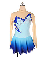 cheap -Figure Skating Dress Women's Girls' Ice Skating Dress Blue Sky Blue Spandex High Elasticity Training Competition Skating Wear Crystal / Rhinestone Long Sleeve Ice Skating Figure Skating / Kids