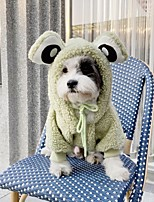 cheap -Dog Coat Sweater Animal Fashion Cute Casual / Daily Winter Dog Clothes Puppy Clothes Dog Outfits Breathable Green Costume for Girl and Boy Dog Plush S M L XL XXL 3XL