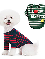 cheap -Dog Cat Shirt / T-Shirt Letter & Number Classic Casual / Daily Winter Dog Clothes Puppy Clothes Dog Outfits Breathable Red Green Costume for Girl and Boy Dog Cotton S M L XL XXL