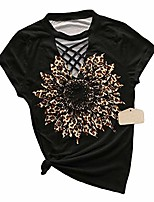 cheap -women leopard sunflower t-shirt sexy criss cross hollow out inspirational tee tops black m