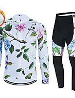 cheap -WECYCLE Men's Women's Long Sleeve Cycling Jersey with Bib Tights Cycling Jersey with Tights Winter Fleece Polyester White Black Black / White Floral Botanical Bike Clothing Suit Fleece Lining / Warm