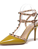 cheap -Women's Sandals Stiletto Heel Pointed Toe Sweet Daily Walking Shoes Patent Leather Almond Yellow
