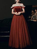 cheap -A-Line Elegant Minimalist Prom Formal Evening Dress Off Shoulder Short Sleeve Floor Length Velvet with Ruffles 2020