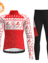cheap -21Grams Men's Long Sleeve Cycling Jersey with Tights Winter Fleece Polyester Red Blue Orange Skull Christmas Bike Clothing Suit Thermal Warm Fleece Lining Breathable 3D Pad Warm Sports Graphic