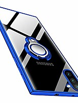 cheap -galaxy note 10 case clear soft tpu silicone case with 360° rotatable ring holder stand kickstand slim fit transparent flexible rubber cover for samsung galaxy note 10 - blue