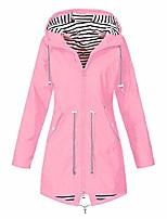 cheap -women men striped plus size rain jackets waterproof with hood outdoor sunscreen pockets raincoat (pink, xxx-large)