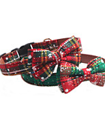 cheap -Dog Cat Collar Christmas Dog Collar Tie / Bow Tie Adjustable Flexible Outdoor Santa Claus Snowman Christmas Tree Nylon Golden Retriever Corgi Bulldog Bichon Frise Schnauzer Poodle Red Green 1pc